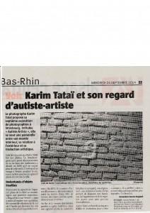 Karim TATAI Strasbourg exposition Autiste-Artiste journal l'Alsace 24 septembre 2014
