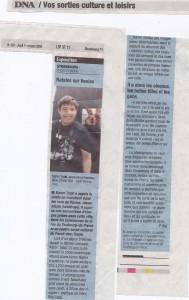 Dernières Nouvelles d'Alsace 1er octobre 2009 Regard Brut sur Venise