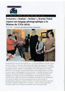 article dans St Dié-Info du 4 novembre 2016 Autiste-Artiste Karim TATAI strasbourg