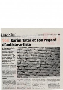 article Journal l'Alsace 24 septembre 2014