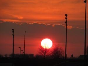 coucher de soleil au péage d'autoroute- Karim-TATAI-Strasbourg